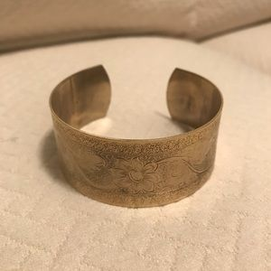 Brass, designed, wrist cuff, adjustable size